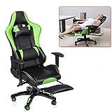 ALTERDJ Gaming Stuhl Bürostuhl Schreibtischstühle Computerstuhl Racing Gaming Chair mit Fußstütze, 2 Kissen, Kunstleder, Höhenverstellbar, 70 x 70 x 123-133 cm, Grün...