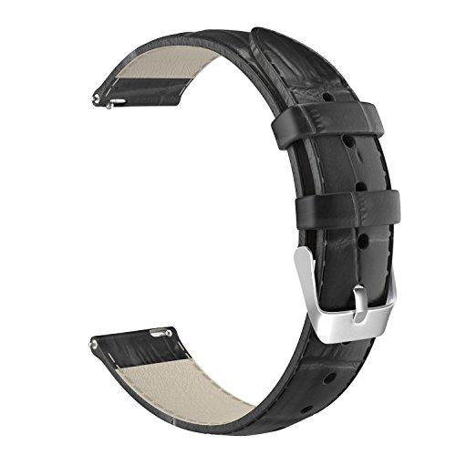 MoKo Correa de Reloj Universal - Reemplazo / Suave Cuero Auténtico Cocodrilo Watch Band Strap Wrist para Smart Watch Huawei / Asus Zenwatch 2 1.45 / Withings Activité ECT. ( 18mm de Ancho ), Negr