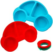 Silicone Divided Toddler Plates - Portable Non Slip Suction Plates for Children Babies and Kids BPA Free Baby