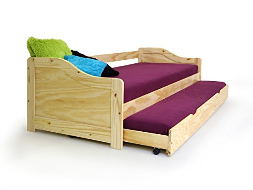 Laura Funktionsbett Tandemliege Jugendbett und Kinderbett mit Bettkasten Pinie natur inkl. 2 x Lattenrost in 90 x 200 cm