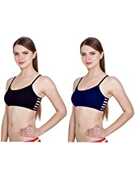 """Apraa 6 Straps Padded Bralette (Removable pads) ( Free Size , 28 to 36B) - (""""Black-Blue"""")"""
