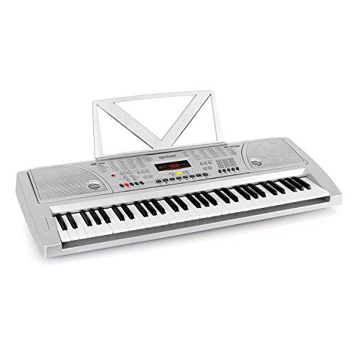 Schubert Etude-61W• Keyboard • Lern-Keyboard • 61 Tasten • Anschlagdynamik • Aufnahmefunktion • Playback-Funktion • Lernfunktion • Line-Ausgang • 100 Klangfarben • Vibrato-Effekt • Metronom • silber