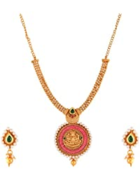 Ganapathy Gems Traditional Temple Design Lakshmi Multi-Colour Gold Plated Necklace Set For Women & Girls(10229...