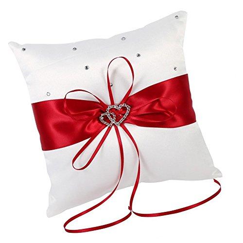 Hosaire Hochzeit Ringkissen Mode Bowknot Form Polyester Ringe Schmuck Kissen Hochzeits Ring Dekoration Box,Rote