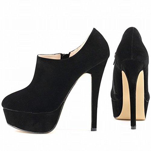 HooH Femmes Fanelle Round-toe Platform Martin Bottines Noir