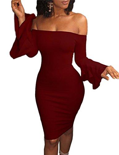 Boutiquefeel Damen Schulterfreies Layered Ärmel Bodycon Kleid Wein Rot L (Slinky Schauen)