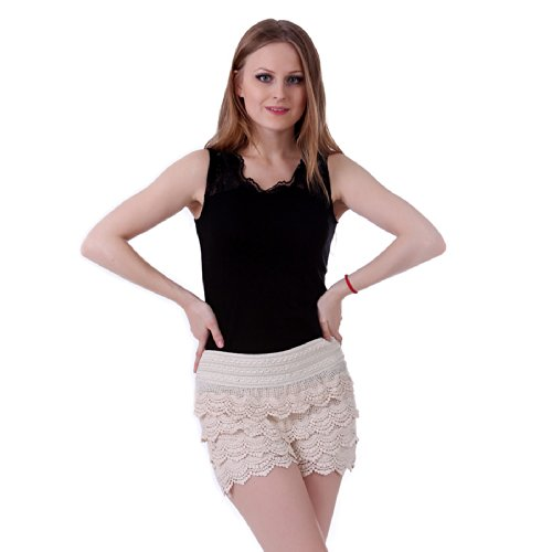 HDE Womens Fitted Mini Shorts Plus Size Tiered Scallop Hem Crochet Lace