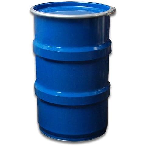 Tambor de metal, tonel metálico, azul, con tapa 120 L (23022)