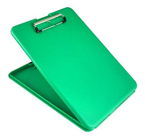 Saunders 55807 SlimMate Portable Desktop Klemmbrett mit Innenfach, für DIN A4 besonders flach, abgerundete Ecken, oben öffnend, Kunststoff, grün -