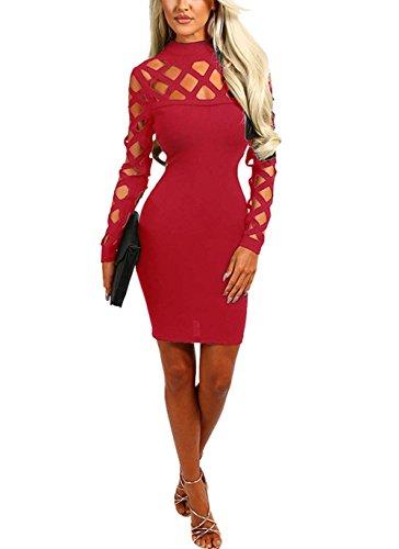 IHRKleid Brennende Blumen Hohles ärmelloses Kleid Sexy Verbandkleid Nachtclub (M, Rot)