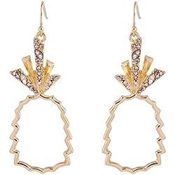 Hosaire 1par Pendientes de Diamante Forma de Piña Arete Mujer Joyas Regalo para Moda Temperamento Simple Estilo étnico Vintage Size 2.1 * 5.7cm