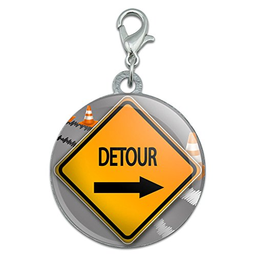 detour-arrow-stylized-orange-grey-caution-sign-stainless-steel-pet-dog-id-tag