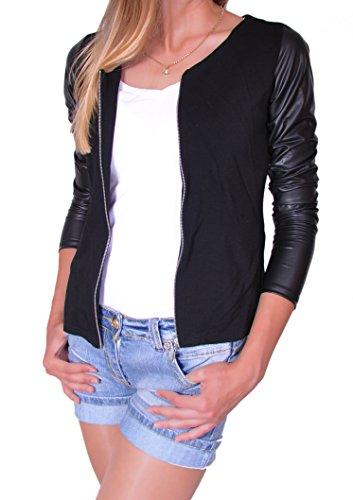 Damen Jacke mit Lederärmel Jacket Kap mit Reißverschluss S M L XL (176) (M)
