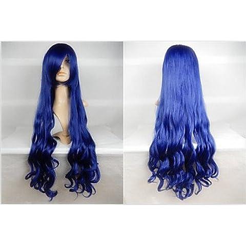 GSP-venta caliente de 40 pulgadas de fibra de alta temperatura a largo y rizado de tinta azul cosplay Bang lado peluca de vestuario