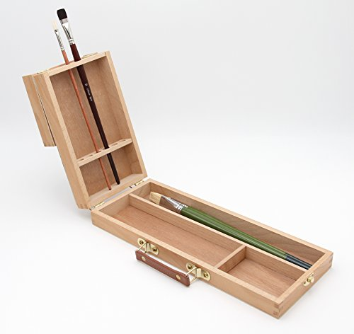 Pinselbox 2 mit Pinselhalter, Pinselständer, Utensilienkoffer für Künstlerpinsel, Pinselkasten