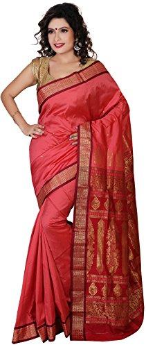 Aruna Fashions Self Design Paithani Gatti 3D Art Silk Saree( Salmon color saree with Maroon color blouse piece)  available at amazon for Rs.999