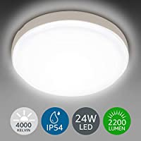 LE Ceiling Light IP54 Waterproof, 24W 2200lm, Neutral White 4000K, Flush Mount, Round LED Ceiling Light for Bathroom, Kitchen, Hallway, Outside Porch and More