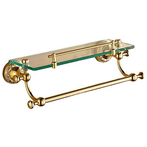 Badezimmerablagen und-regale Badregal Einschichtiges Badregal Gold-Hartglas-Lagerregal Commercial Home (Color : Gold, Size : 39 * 13cm)