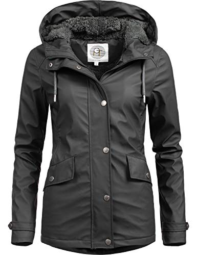 Peak Time Damen Winter Regenmantel L60043 Schwarz Gr. L - Frauen Mantel Peak