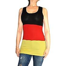 Jygles Fashion Damen Tank Top Deutschland Fan Trägershirt Shirt Für Deutschland Fans 34-40 (S/M, Tank Top Deutschland)
