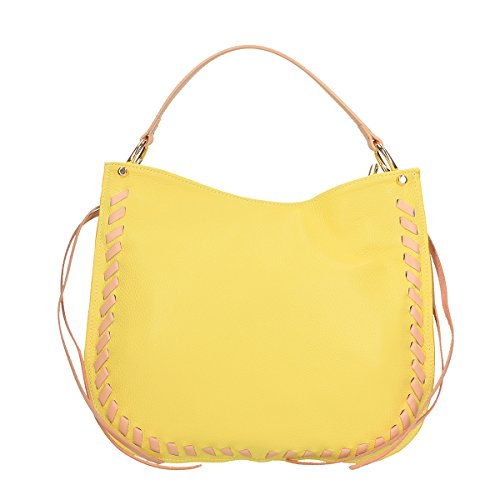 Chicca Borse Borsa a tracolla in pelle 35x28x12 100% Genuine Leather giallo rosa