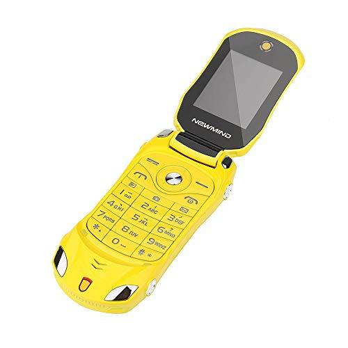 F15 altes Mann Autotelefon, Mobiltelefon-Auto Modell Taschenlampe Dual-SIM-Karten Mp3 Mp4 FM Radio Recorder Handy Flip (Gelb)