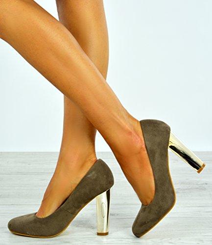 Cucu Fashion , Sandales Compensées femme Khaki / Gold Metal Heel