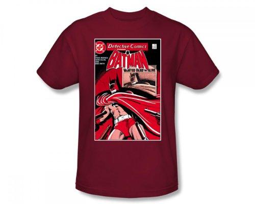 Batman - Gesucht Bat Erwachsene Kurzarm T-Shirt in Kardinal von DC Comics, Small, Cardinal (S/s T-shirt Erwachsene Cardinal)