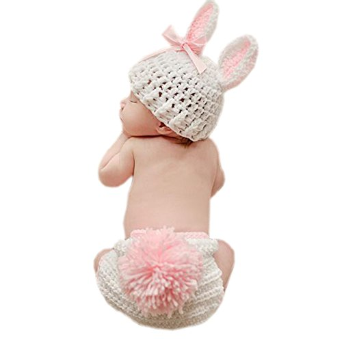 DELEY Neugeborene Baby Häkelarbeit Knit Cartoon Hase Baby Fotografie Requisiten Kostüm Outfits 0-6 Monate