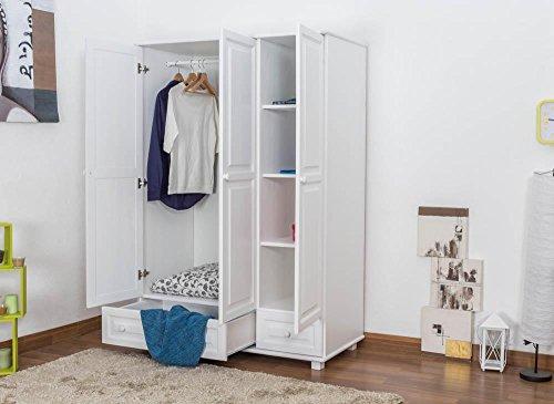 Landhaus-Stil Kiefer-Kleiderschrank, Farbe: Weiß 190x133x60 cm