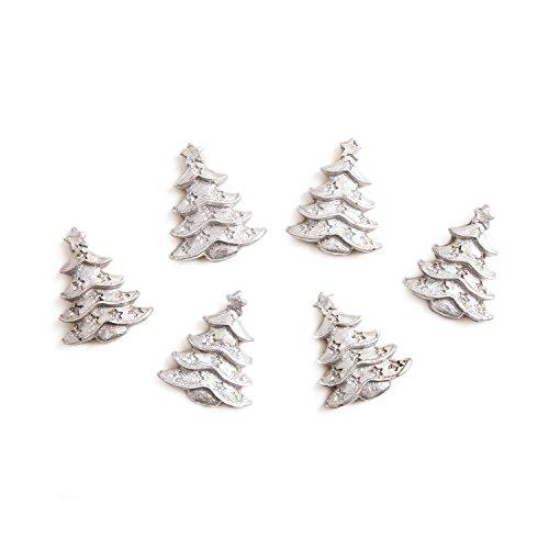 6 kleine silber-farbene mini Tisch-Streu Weihnachtsdeko WEIHNACHTSBAUM CHRISTBAUM BAUM 3,3 cm MIT Klebepunkt Streuteile Zierschmuck Tisch-deko weihnachtlich basteln dekorieren