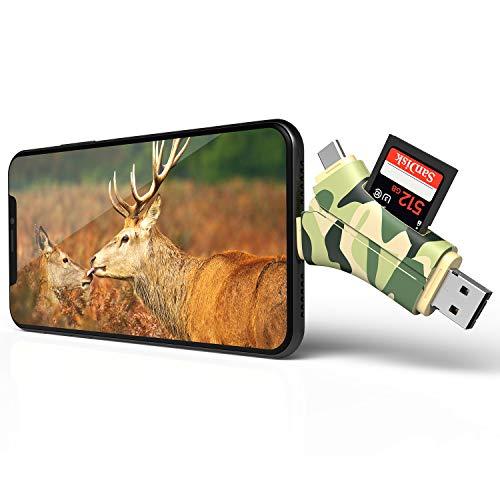 Arzopa Lector de Tarjetas de Memoria 4 en 1, Visor de cámara de Caza, Lector de cámara y vídeos, Conector Micro Adaptador USB 2.0 para iPhone, iPad, Mac o Android