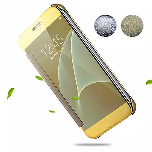 Cuitan Luxus Electroplate Spiegel PC Flip Hülle (PU Leder Verbinden) für Apple iPhone SE, Mode Kreative Entwurf Plating Mirror PC Hart Schutzhülle Handyhülle Handytasche Tasche Case Cover - Rose Gold Gold