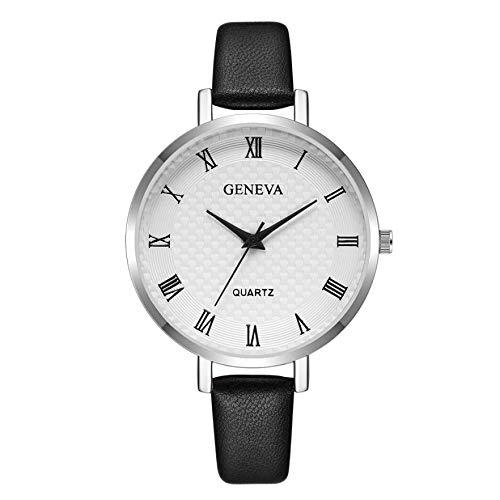 WZFCSAE Reloj Mujer Armbanduhr Frauen Uhren Mode Dame Genf Römischen Ziffern Leder Analog Quarz Armbanduhr montre Femme