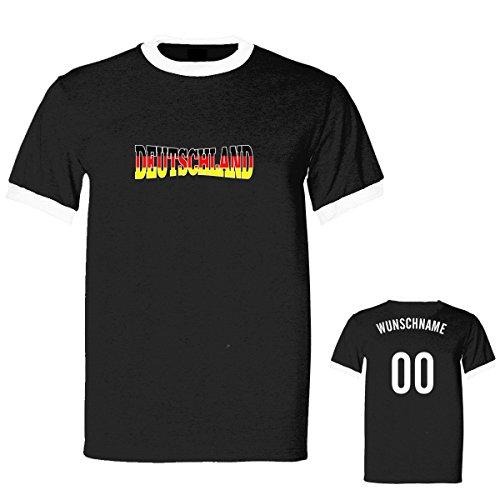 Shirtfun24 Herren 3D 2016 EM WM Deutschland Name Nummer Ringer Fun T-Shirt, schwarz, XXL (T-shirt Kurzarm Ringer Trikot)