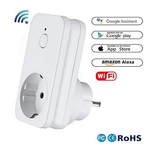Alexa Wlan Steckdose, Smart Home Wifi intelligente Steckdose mit Amazon Echo Dot 2 und Google Home, inkl Zeitsteuerung Energiesparfunktion, funktionier mit App Steuerung überall und zu jeder Zeit