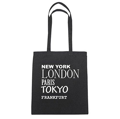JOllify Frankfurt Borsa di cotone B296 schwarz: New York, London, Paris, Tokyo schwarz: New York, London, Paris, Tokyo