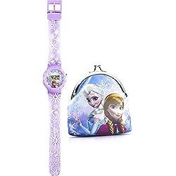 Disney Frozen Children's Quartz Watch with Multicolour Dial Digital Display and Purple Plastic Strap FROZ10SET
