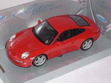 Welly Porsche 911 997 Carrera S Rot Coupe 2004-2011 1/24 Modell Auto mit individiuellem Wunschkennzeichen