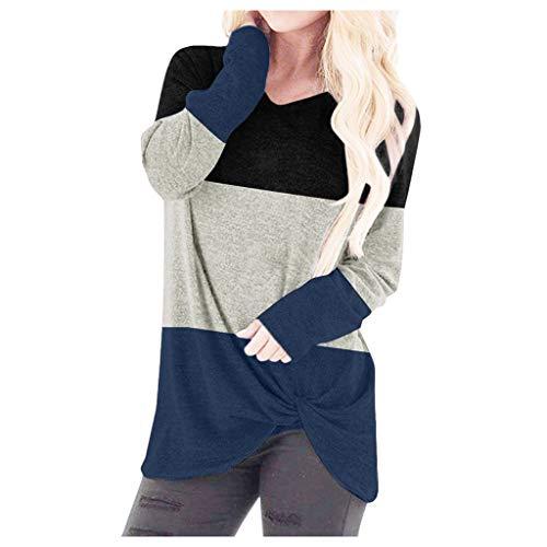 EUZeo Damen Oberteile Farbblock Casual Kurzarm and Langarm T-Shirts Rundausschnitt Tunika Tops Tees Streetwear Langarmshirts Kurzarmshirts Hemden