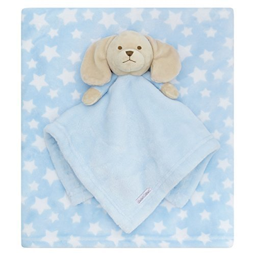 Baby Decke mit Tröster Spielzeug pink blau oder Weihnachtsmotiv - blau Decke Welpen, Einheitsgröße