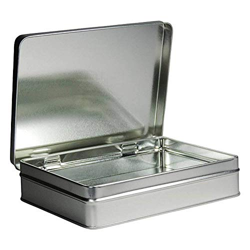 mikken - 1 x Vorratsdose, eckige Metalldose aus Weissblech mit Scharnierdeckel (Farbe: Silber), ideal als Gebäck-, Keks- und Tabakdose verwendbar (15,6 x 12 x 3,5 cm)