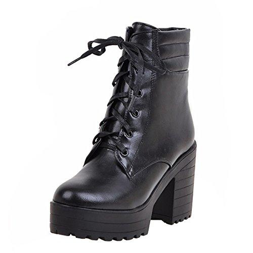 YE Damen Chunky Heels Ankle Boots High Heels Plateau Stiefeletten mit Schnürung und 9cm Absatz...