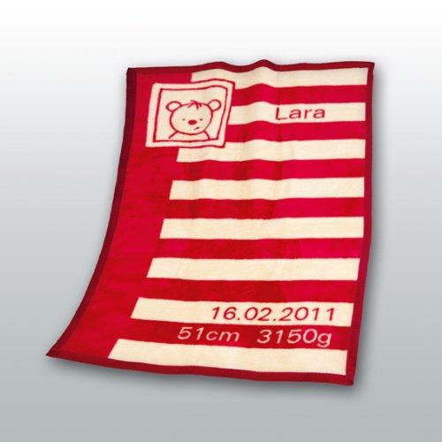 Herding 115025014 Baby coperta con data e i nomi Unicade 75 x 100 cm regalo perfetto per nascita o b