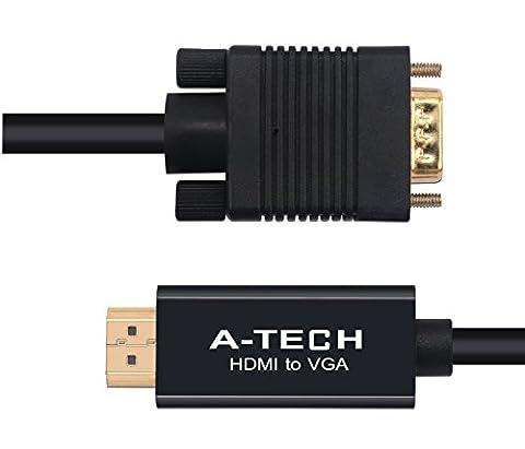 Câble hdmi à vga 1.5m est un connecteur plaqué or Càble Adaptateur HDMI vers VGA CE Càble VGA Support HDMI v1.3 HDMI - 1080p et compatible avec TV, projecteur en