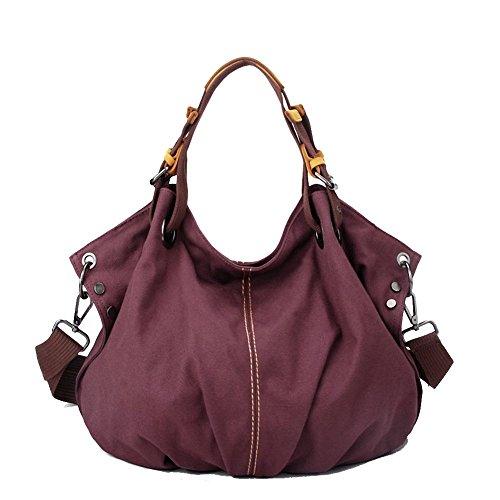 witery Damen Große Kapazität Wasserdicht Vintage Canvas Tote Handtasche Schultertasche, violett (Lila) - CLOA0017-01 (Canvas Kate Tote Spade)