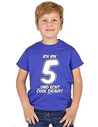 Jungen 5 Jahre alt T-Shirt Vorschulkinder Kinder - Geschenk Idee Kindergeburtstag Shirt Kindershirt Ich bin 5 …und echt cool drauf! 5 Geburtstagsgeschenk Buben Kind Kleinkind in blau : )