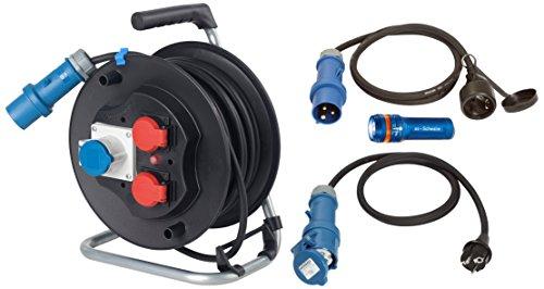 Preisvergleich Produktbild as - Schwabe Camping Set, 25 m CEE Kabeltrommel, 2 x Adapter-Leitung zwischen 230 V, Schutzkontakt und Taschenlampe XT 1, schwarz, 19600