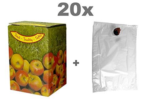 Fischer Kellereitechnik Bag in Box Set 10L 20x Beutel und 20x Kartons Apfelmotiv (Apfelsaft-kartons)