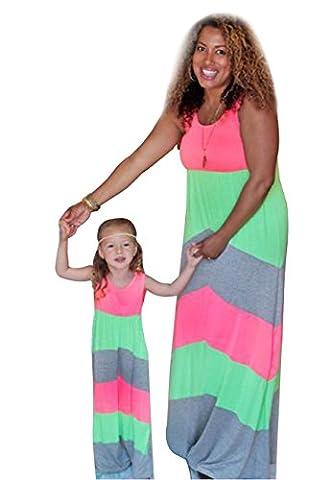 OMZIN Femme Filles Robe Mère Et Fille Col Rond Sans Manches Rayures Avec Imprimée Robe Longue Famille Ensemble Casual Robe De Soirée Vert Gris 1-2 ans